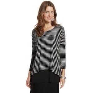 Chico's Tabitha 2-in-1 striped top black large 2